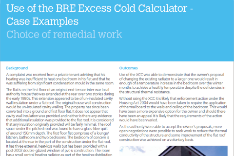 Use of the BRE Excess Cold Calculator - Choice of remedial work